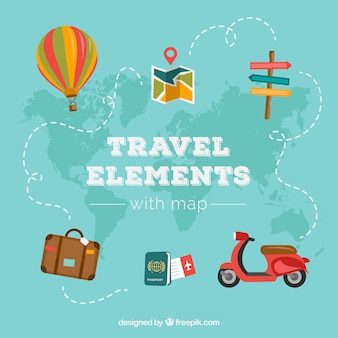 World map and travel elements with flat design