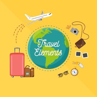 평면 디자인의 세계지도 및 여행 요소