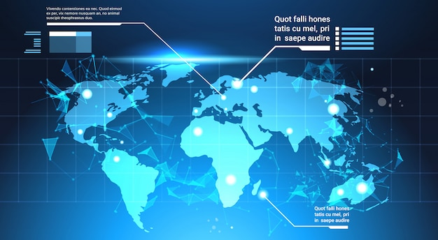 World map background, set of computer futuristic infographic elements tech template charts