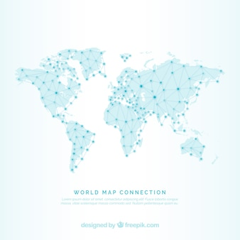 World map background with lines and dots