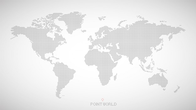 World map of black dots on grey