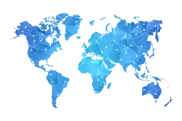 World map blue in polygonal style