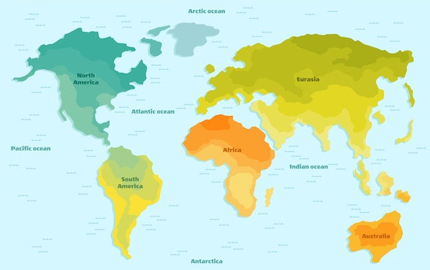 World map for children with continents