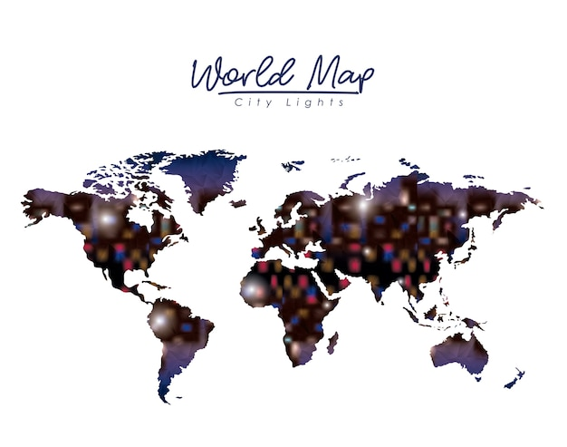 カラフルなシルエットの世界地図都市のライト