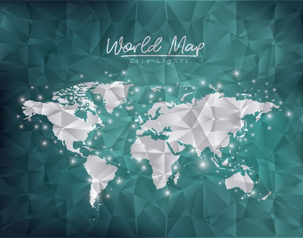 緑の劣化した世界地図都市のライト