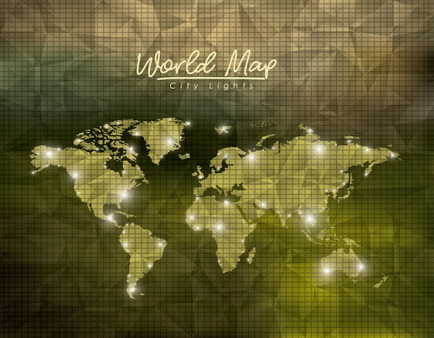 緑の多角形の背景の世界地図の都市のライト