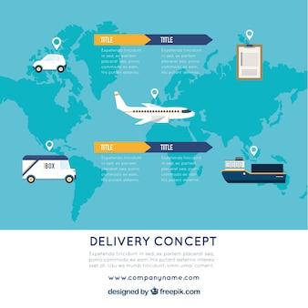 世界地図、クリップボード、輸送手段