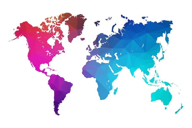 World map colorful vector in polygonal colorful style