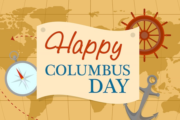 World map columbus day concept , flat style