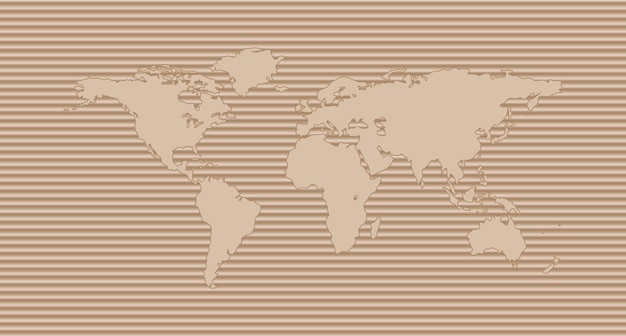 World map on corrugated cardboard