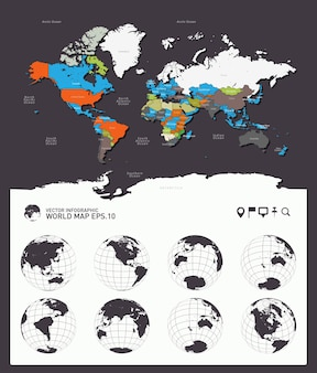 World map countries earth globes vector
