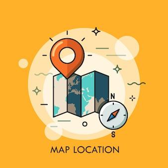 世界地図、目的地のピンとコンパス。 gpsナビゲーションと位置検索の概念、観光サービス、旅行モバイルアプリケーションのロゴ。