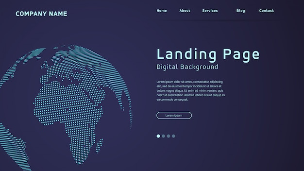 World map in dots landing page