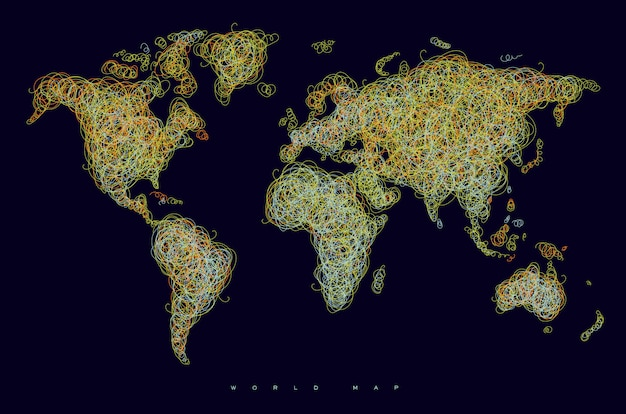 World map drawing with tangled orange and yellow lines on black background