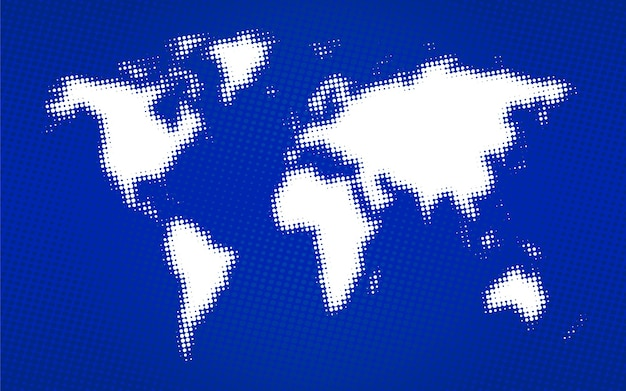 World map duotone in blue