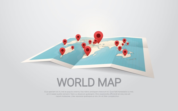 World map earth with pins travel concept