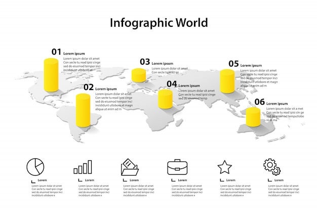World map element infographic, infochart business information
