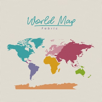 白い背景にカラフルな世界地図の布