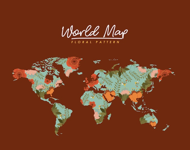 World map floral pattern in brown background