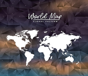 World map floral pattern on colorful polygon background