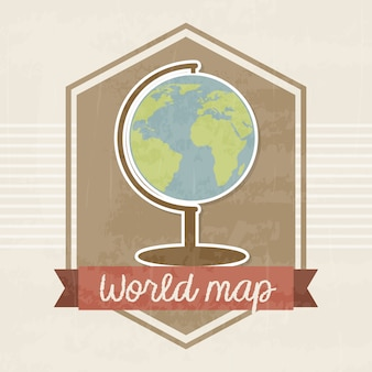World map frame over vintage backround vector illustration