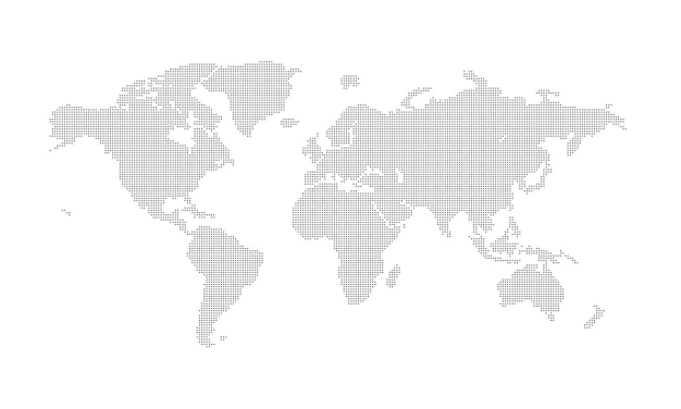 World map from dots outline world map and continents with dots