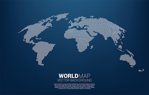 World map from square pixel concept of global illustration