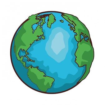 World map globe cartoon