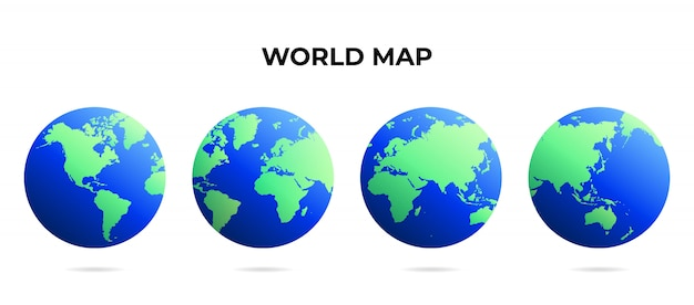 World map globe different points of view