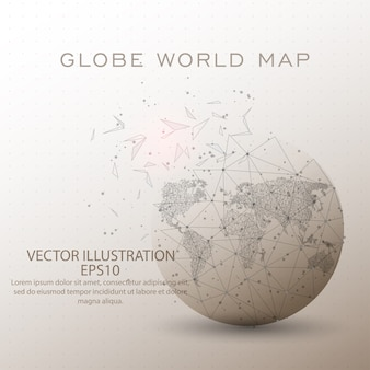 World map globe low poly wire frame.