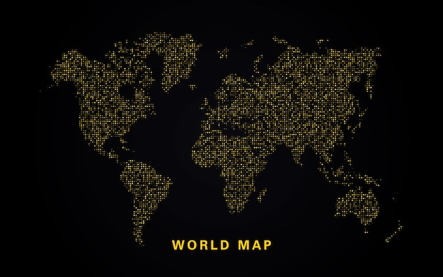 World map of golden glitters