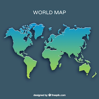 World map in green and blue tones
