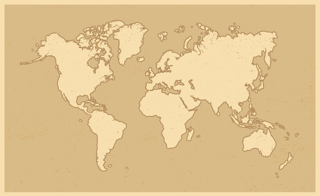 World map in grunge style