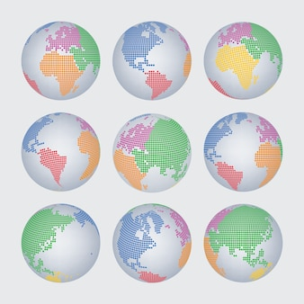 World map halftone dot vector set
