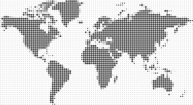 World map halftone dots background