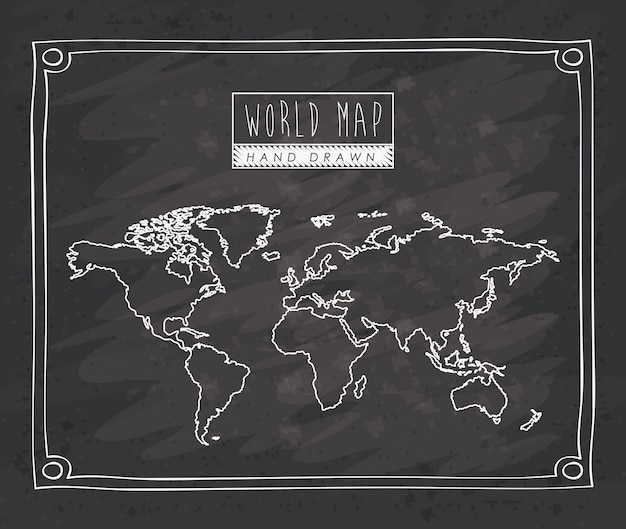 World map hand drawn monochrome silhouette
