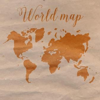 茶色のクラフト紙に手描きの世界地図。ベクトルイラスト。
