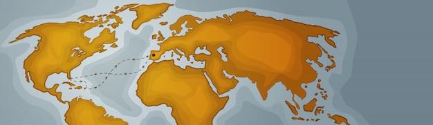 世界地図水平方向のバナー大陸のレトロなビンテージスタイル