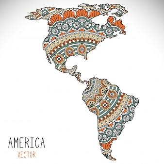 World map illustration in mandala style