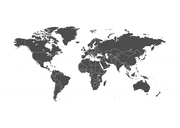 World map illustration with borders.