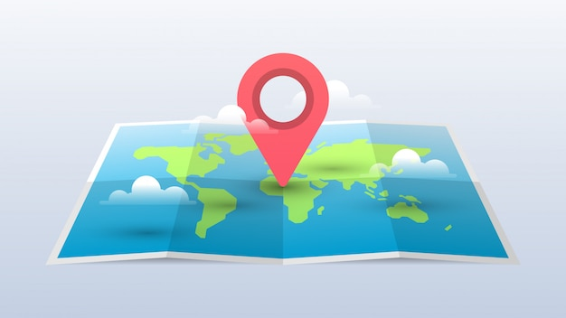 World map illustration with pin and clouds