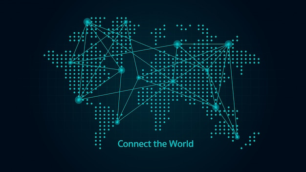 多くの線と点で接続された場所を持つ抽象的なスタイルの世界地図。グローバルなコミュニケーションに関する図。