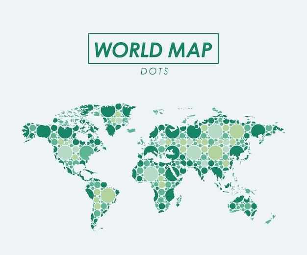 緑色のシルエットのドットで世界地図