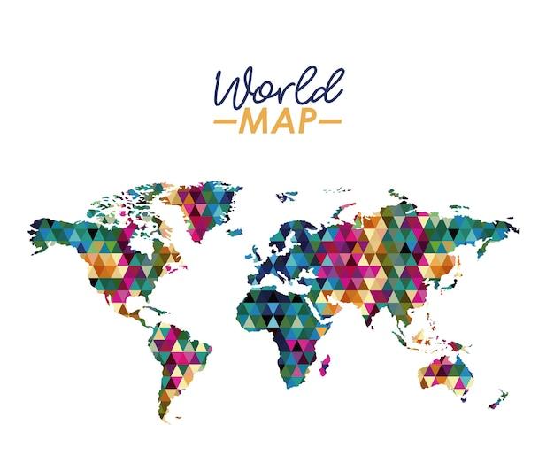 幾何学的なカラフルな形のシルエットの世界地図