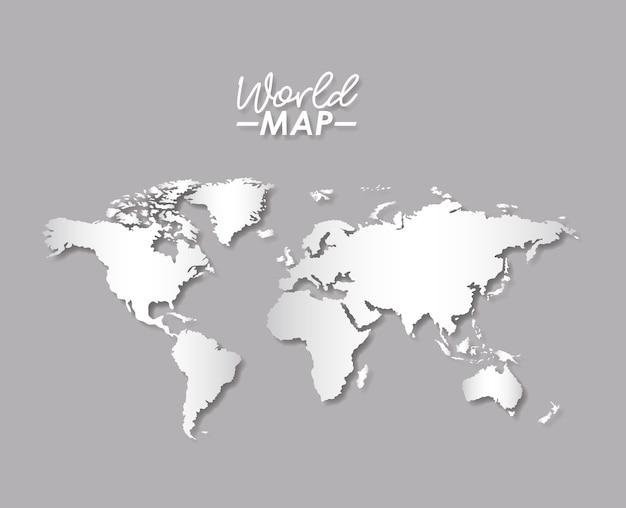 グレースケールカラーシルエットの世界地図