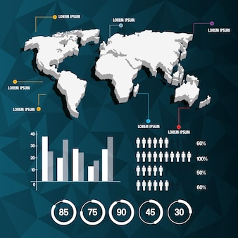 World map infographic demographic report data with abstract background