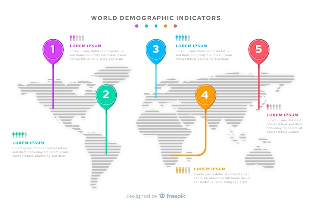 World map infographic mark destination
