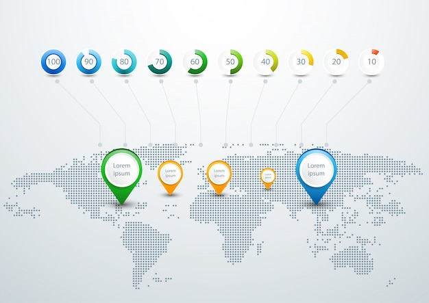 World map infographic template with dots design