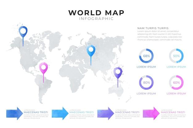 Инфографика карта мира с диаграммой
