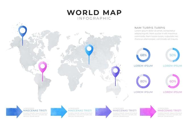 Mappa del mondo infografica con diagramma